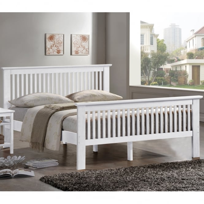 Harmony Buckingham 5ft King Size White Wooden Bed