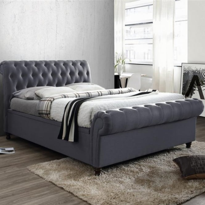 Birlea Beds CASSO6CHA Castello 6ft Super King Size Charcoal Side Ottoman Bed