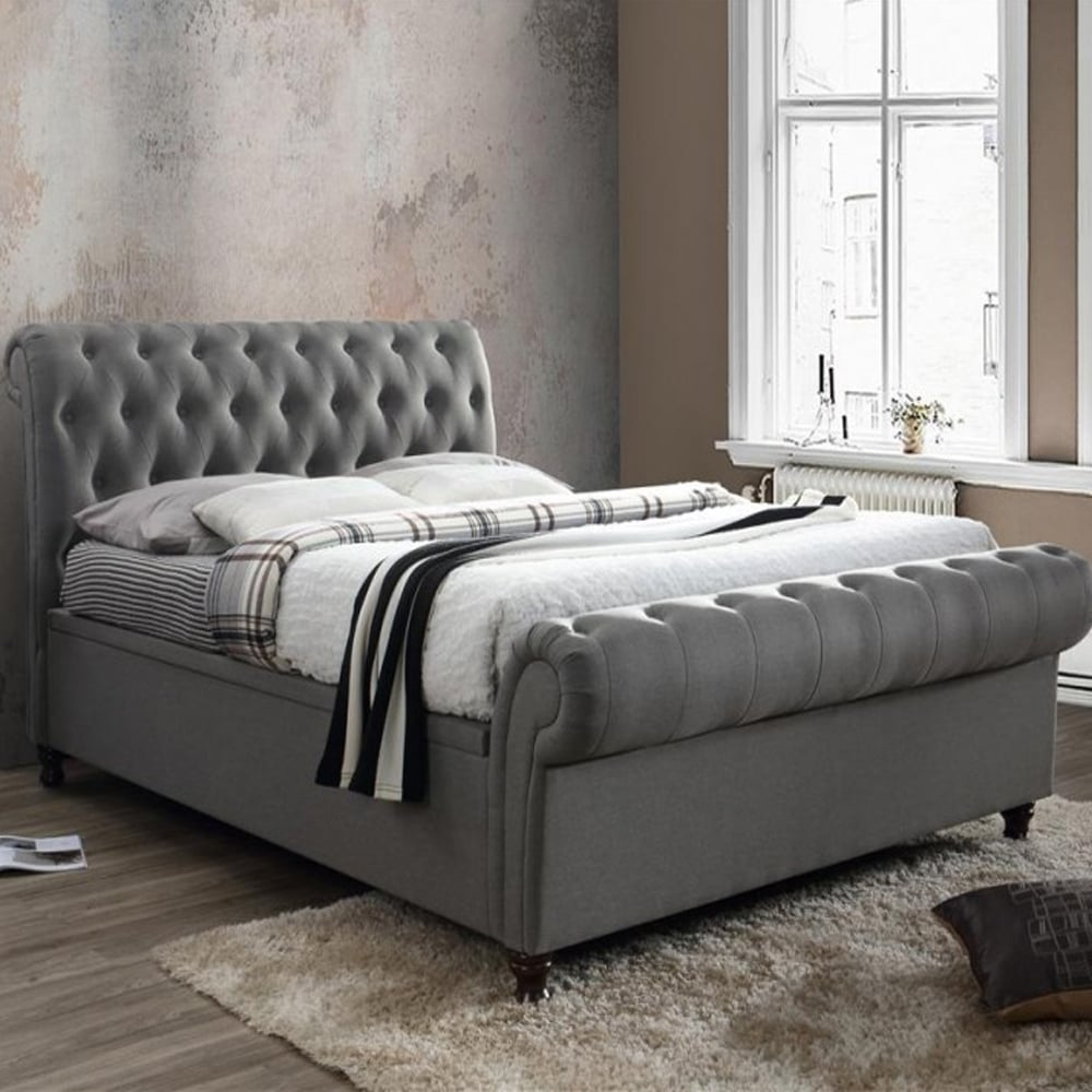 Discounted Birlea Beds Castello 6ft Super Kingsize Grey Side Ottoman