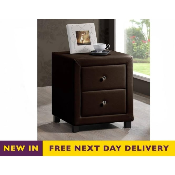 Time Living Chelsea Brown Faux Leather Two Drawer Bedside Cabinet