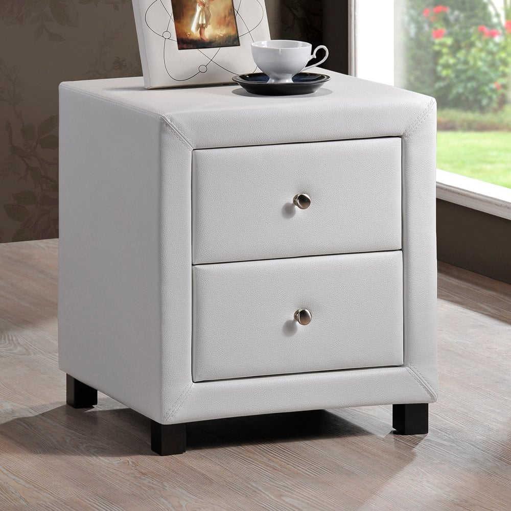 Cheapest Chel2drwht Chelsea Two Drawer White Faux Leather