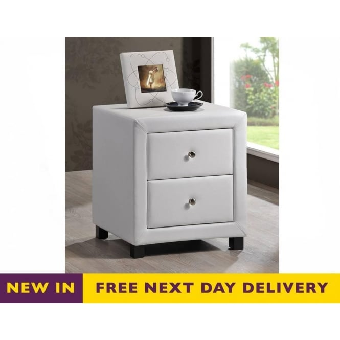 Faux leather bedside cabinets chelsea white faux leather two drawer bedside cabinet watchthetrailerfo