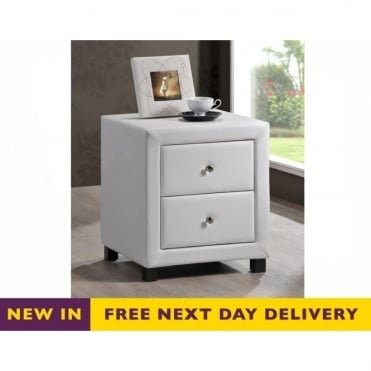 Chelsea White Faux Leather Two Drawer Bedside Cabinet