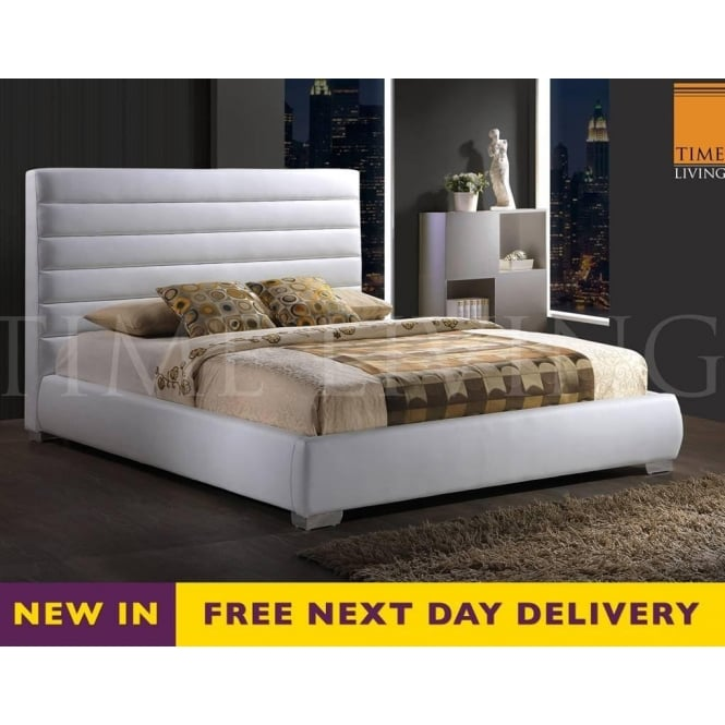 Time Living Exclusive CHESS46WHT Chessington 4ft6 Double White Faux Leather Bed