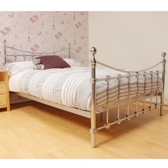 Harmony Chicago 5ft King Size Chrome Metal Bed