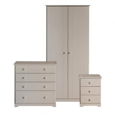 BNSET1 Banff Warm White Wooden Bedroom Furniture Set