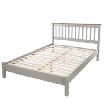 CRG460LE Corona Grey Washed 4ft6 Double Wooden Bed