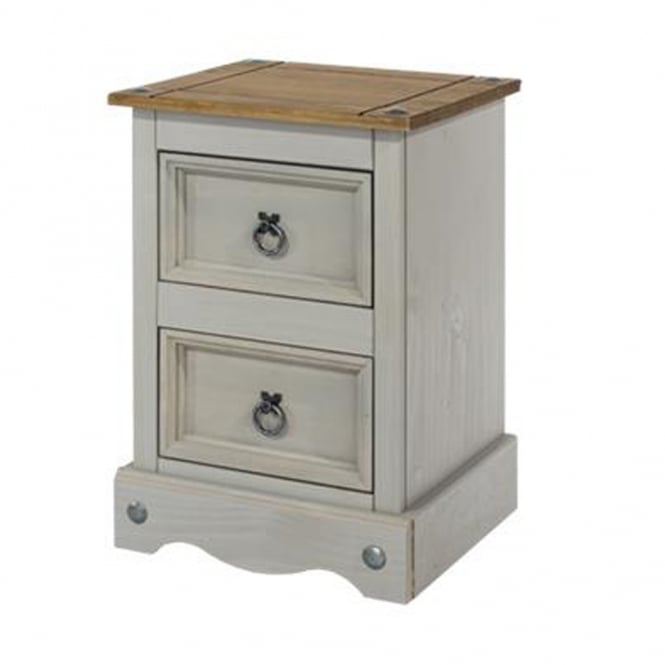 Core Products Ltd CRG509 Corona Grey Washed Two Drawer Petite Bedside Cabinet