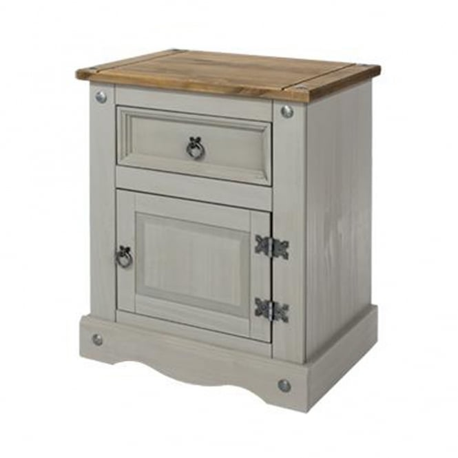 Core Products Ltd CRG510 Corona Grey Washed One Door One Drawer Bedside Cabinet