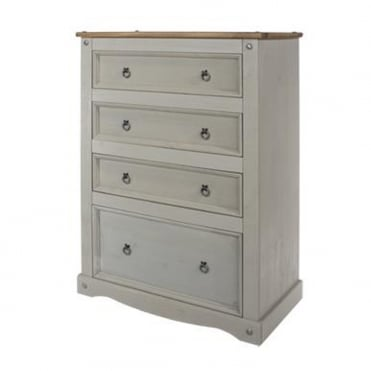 CRG514 Corona Grey Washed Four Drawer Chest of Drawers