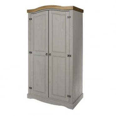 CRG520 Corona Grey Washed Two Door Wardrobe
