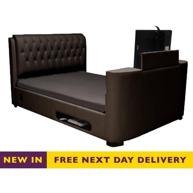 Sale Cosmo Tv Bed Brown Faux Leather 6ft Super King Size Online