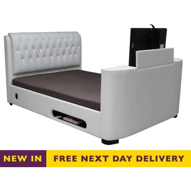 Sale Cosmo Tv Bed White Faux Leather 6ft Super King Size Online