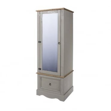 CRG252 Corona Grey Washed Armoire with Mirrored Door