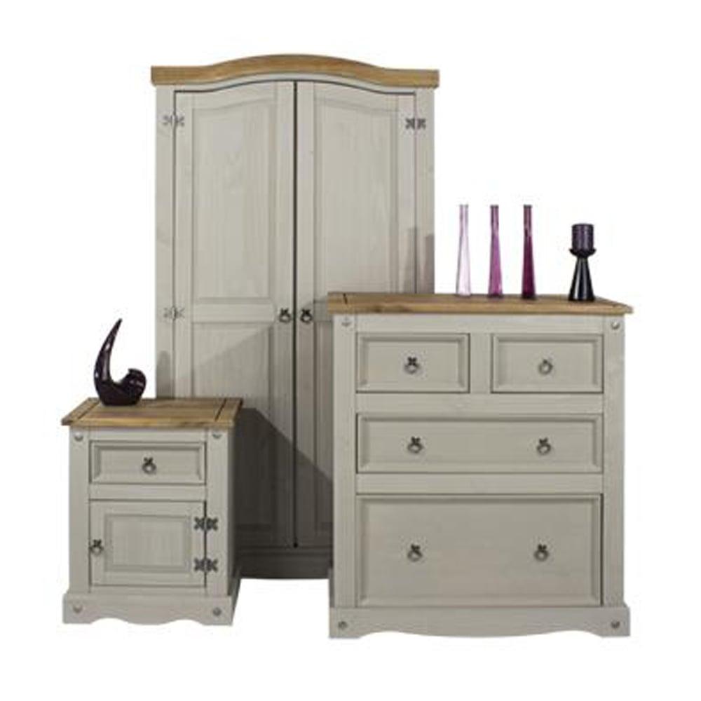 Core Products Ltd CRGSET1 Corona Grey Washed Bedroom Furniture Set