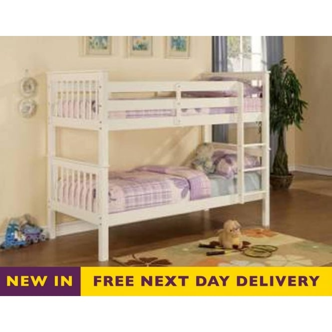 Time Living Devon 3ft Single White Wooden Bunk Bed