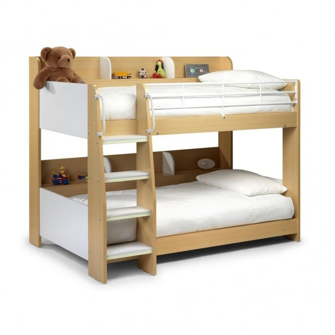 Julian Bowen Domino 3ft White & Maple Finish Bunk Bed