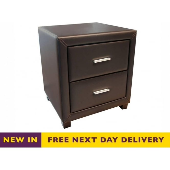 Time Living Dorset Brown Faux Leather Two Drawer Bedside Cabinet
