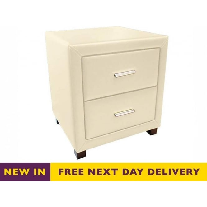 Time Living Dorset Cream Faux Leather Two Drawer Bedside Cabinet
