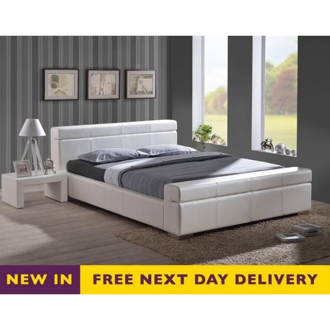 Time Living Durham 4ft6 Double White Faux Leather Bed
