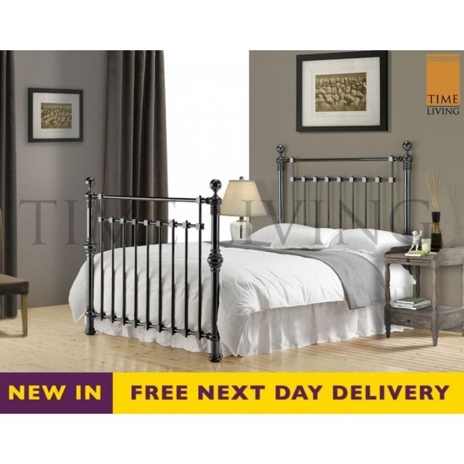Time Living Exclusive EDW6BLK Edward 6ft Super King Black Nickel Bed