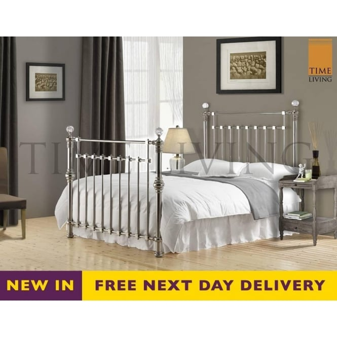 Time Living Exclusive Edward Crystal 5ft King Size Chrome Plated Metal Bed