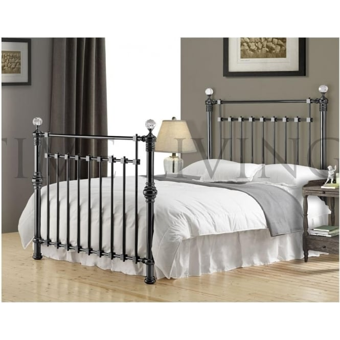 Time Living Edward Crystal 6ft Super King Black Nickel Metal Bed