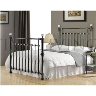 Edward Crystal 6ft Super King Black Nickel Metal Bed