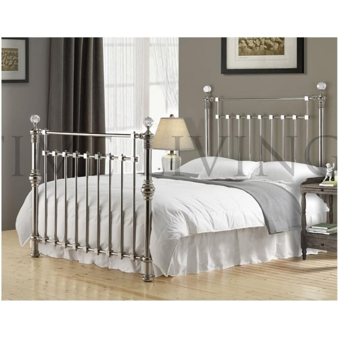 Time Living Exclusive Edward Crystal Chrome Plated 6ft Super King Size Metal Bed