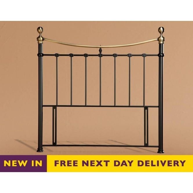 Time Living Elizabeth 4ft6 Double Black & Brass Metal Headboard