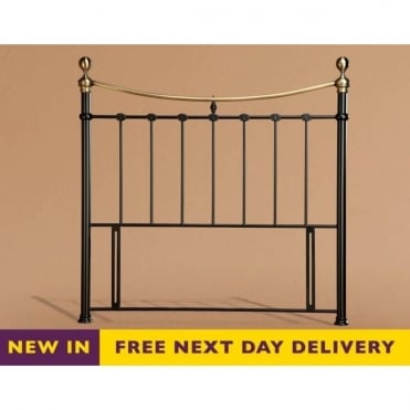 Elizabeth 4ft6 Double Black & Brass Metal Headboard