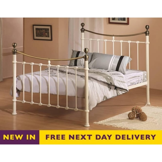 Time Living Elizabeth 4ft6 Double Cream and Brass Metal Bed
