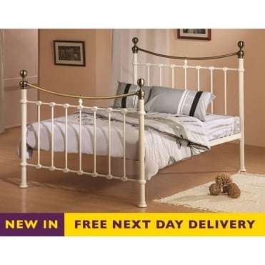 Elizabeth 4ft6 Double Cream and Brass Metal Bed