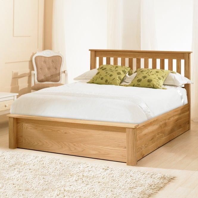 Cheapest Monaco 6ft Super King Size Oak Wooden Storage Bed Uk