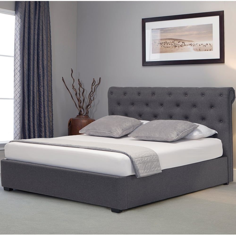 brand new 4ee44 10853 BAGY60 Balmoral 6ft Super King Size Grey Fabric Ottoman Storage Bed