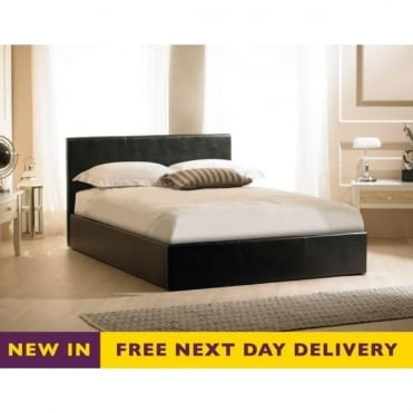 Madrid 6ft Black Faux Leather Storage Bed