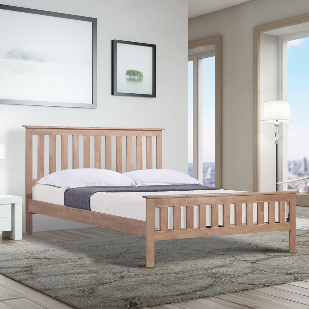 online store 75cb5 df102 Emporia EHOA40 Hardwood 4ft Small Double Oak Wooden Bed
