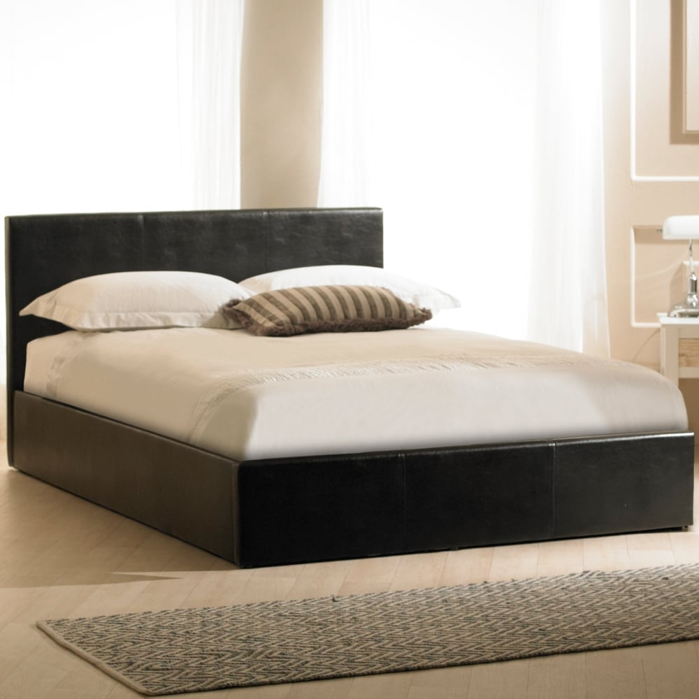 Cheap Madrid 4ft Small Double Black Faux Leather Ottoman Storage Bed