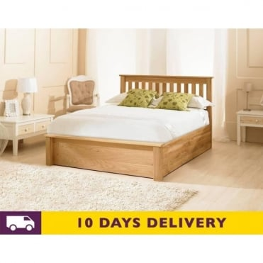 Monaco 4ft6 Double Oak Ottoman Wooden Storage Bed