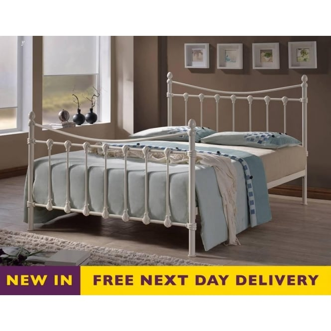 Time Living Florida FLO4IV 4ft Small Double Ivory Metal Bed