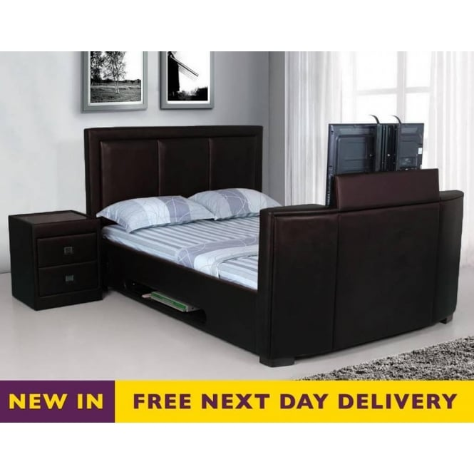 discounted Galactic 4ft6 double TV bed brown faux leather | sale ...