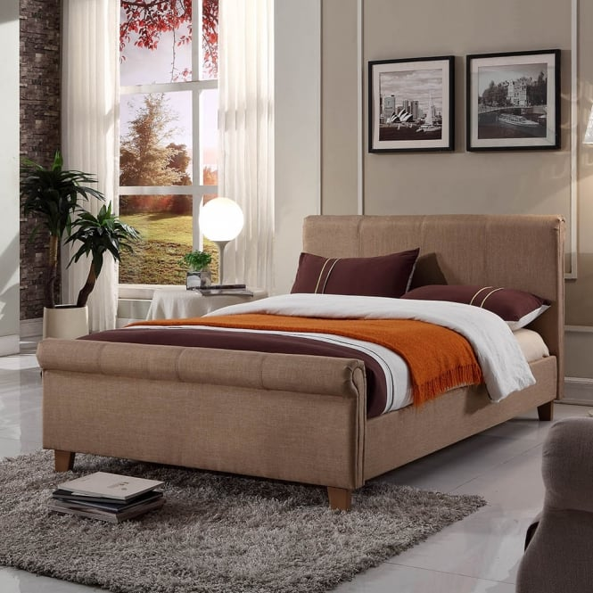 Harmony Caramel 5ft King Size Mink Fabric Bed
