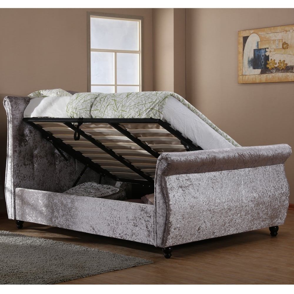 Mayfair 5ft King Size Silver Crushed Velvet Ottoman Storage Bed & cheapest harmony beds Mayfair 5ft king size silver crushed velvet ...
