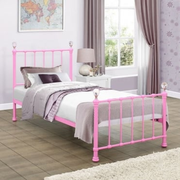 Jessica 3ft Single Pink Metal Bed