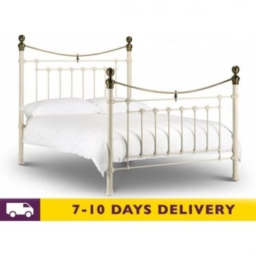 Victoria 3ft Single Stone White Metal Bed