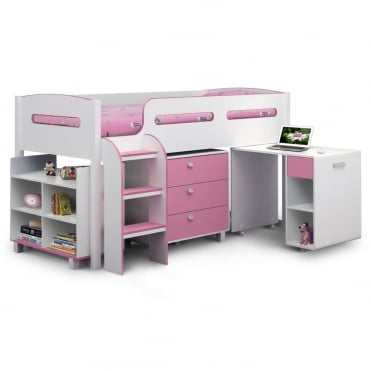 Kimbo 3ft Wooden Pink Cabin Bed