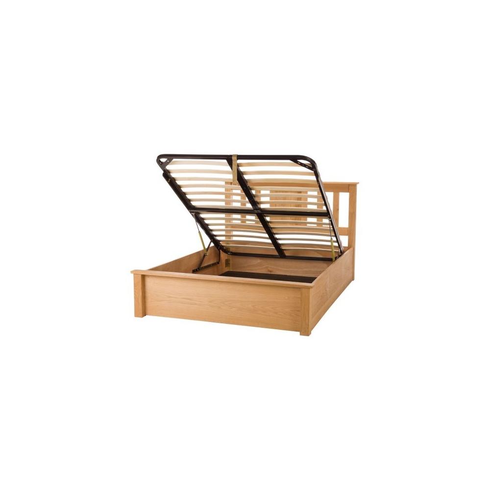 Leather Bed Oak Beds Und: Terran Limelight 6ft Oak Ottoman Wooden Bed