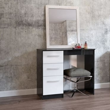 Lynx Black & White 3 Drawer dressing table