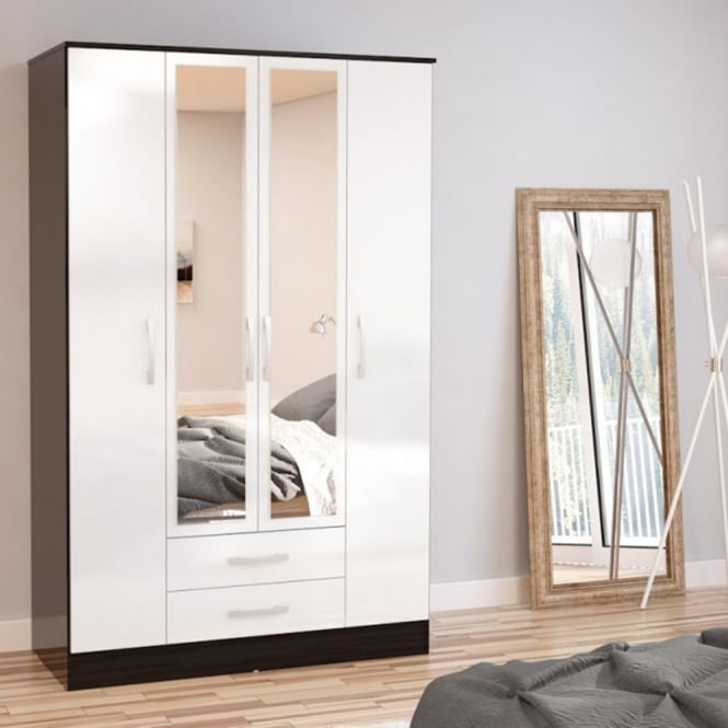 Birlea Furniture Lynx Black & White 4 Door 2 Draw Wardrobe