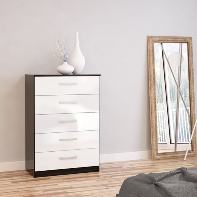 Birlea Furniture Lynx Black & White 5 Drawer Chest